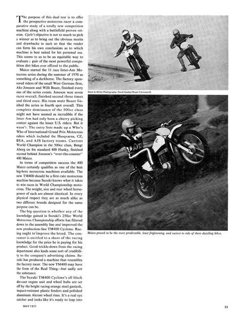 1971 TM400 test in Cycle Magazine