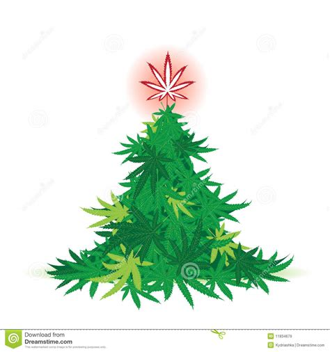 marijuana christmas tree pics tree cannabis leaf stock vector image 11834679