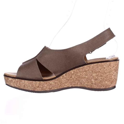 clarks comfort sandals lyst clarks rosemund dune wedge comfort sandals in brown