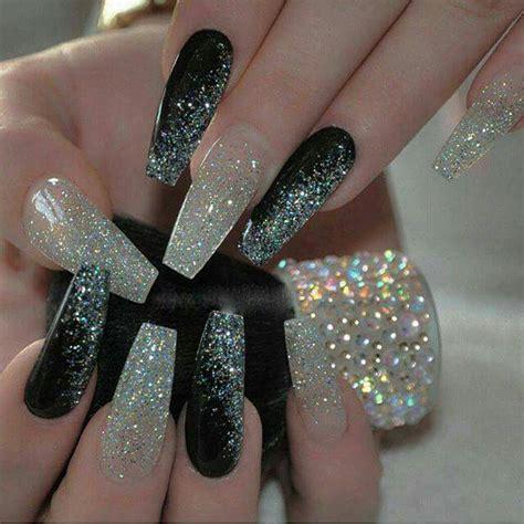 Jiuku Nail Purple Green White Glitter 63 black and glitter coffin nails nails