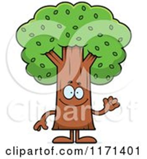 cartoon clipart of a waving tree mascot vector outlined