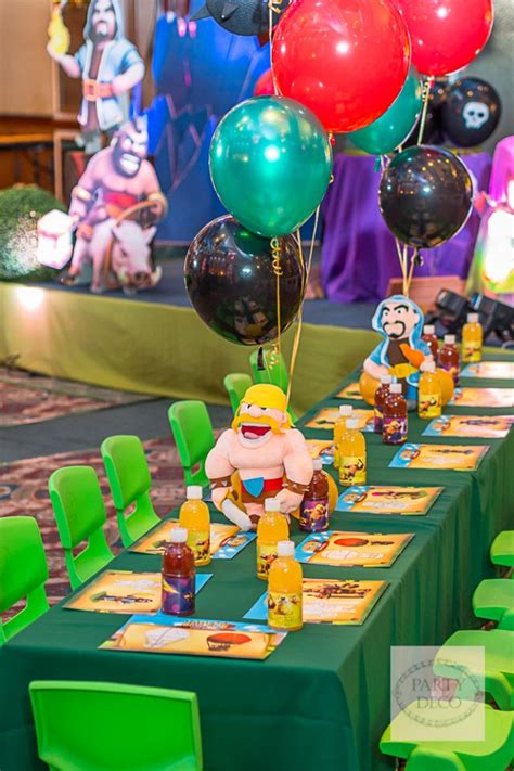 themes coc jaden s clash of clans themed party table setup clash