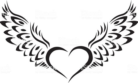 tribal heart with wings tattoo with wings tribal stock vector more