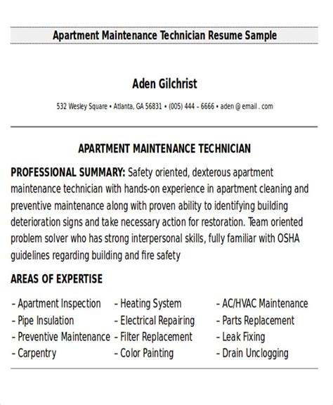 maintenance technician resume format 9 sle maintenance technician resumes sle templates