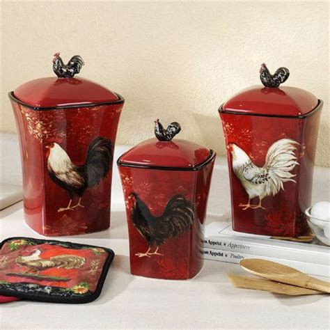Burgundy Kitchen Canisters by Avignon Rooster Kitchen Canister Set
