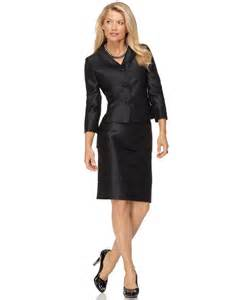 kasper new black textured jeweled button jacket 2pc skirt