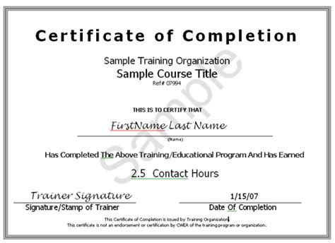 Samplecertificate of completion