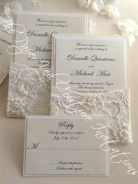 Couture Wedding Invitations by Vintage Pearl And Sequin Lace Couture Panel Pocket