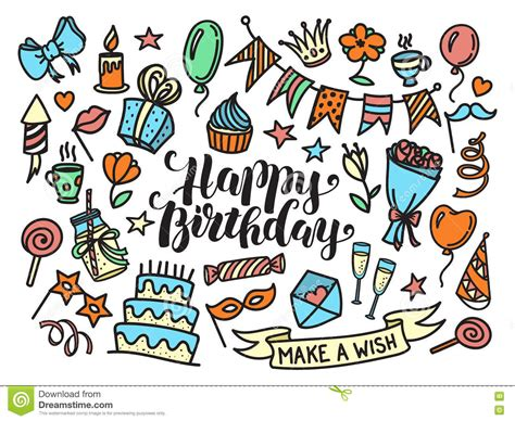 free vector birthday doodle colorful happy birthday lettering and doodle set