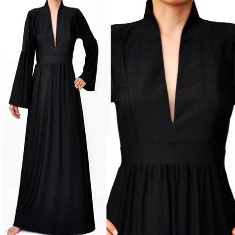 Maxi Mandarin Da black mandarin neck bell sleeve muslimah abaya maxi dress my style black