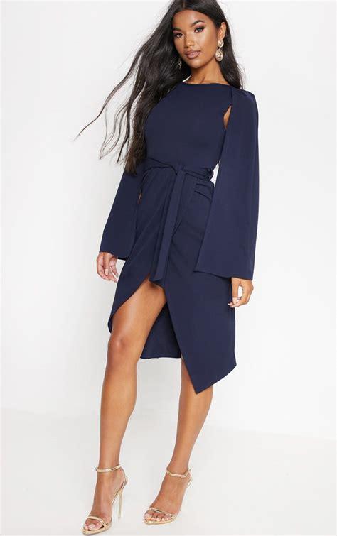 Navy Style navy cape style wrap midi dress dresses
