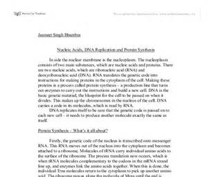 Protein Synthesis Essay Free by Nucleic Acids Dna Replication And Protein Synthesis Biological Sciences Marked