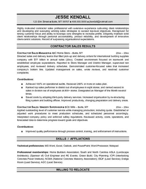 general contractor resume sle best independent contractor resume sales contractor