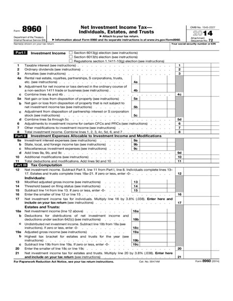 Irs Section 72 by Form 8960 Net Investment Income Tax Individuals Estates