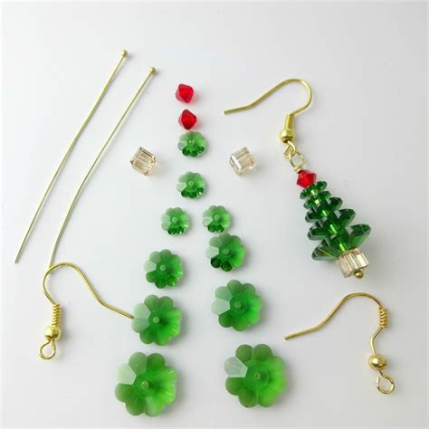 swarovski crystal christmas tree earrings kit with
