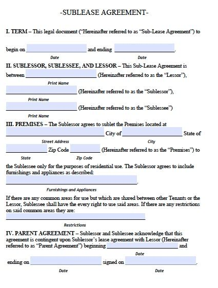 sublease agreement template real estate forms