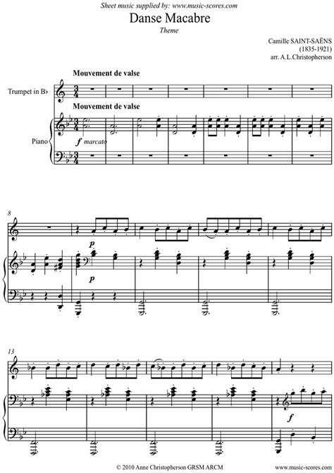 macabre music danse macabre theme trumpet sheet music by camille saint