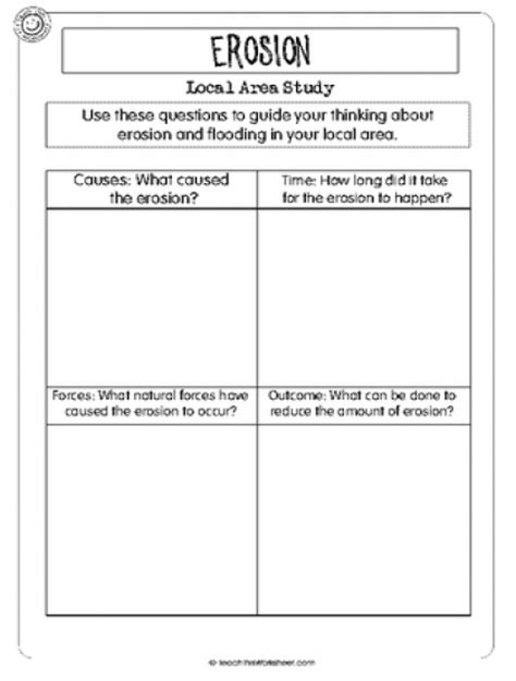 Erosion Worksheets by Teach This Worksheets Create And Customise Your Own