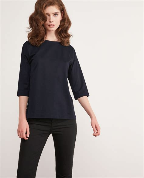 Cropped Sleeve T Shirt t shirt with cropped sleeves navy dimac comptoir des
