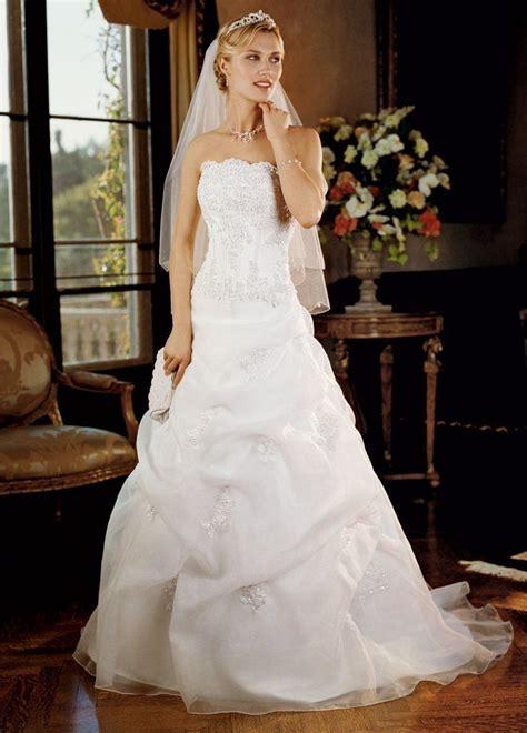 David's Bridal Wedding Dress: Satin Corset Pick up with