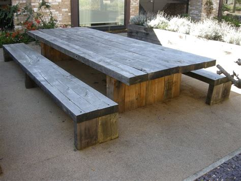 outdoor table with bench exterior long diy solid wood picnic table with double bench seat made from reclaimed