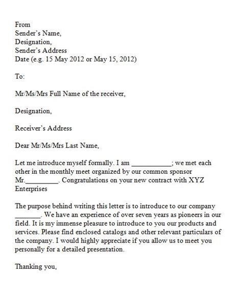 Business Letter Introduction Myself 40 letter of introduction templates exles