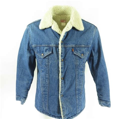 Levis Jacket 1 vintage 70s levis trucker sherpa jacket mens 42 orange tab fleece cotton denim the clothing vault