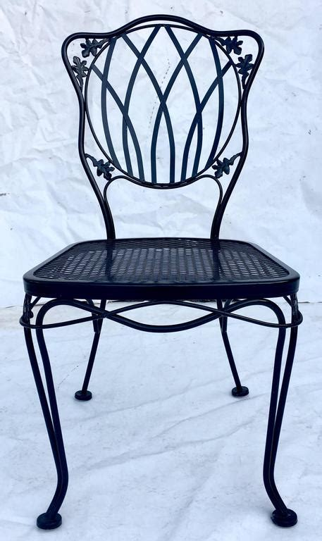 1950s set of 5 wrought iron mesh chairs and cushions by woodard for sale at 1stdibs