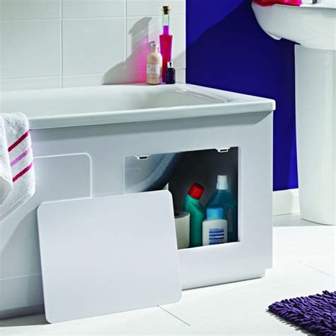 White Gloss Bathroom Storage by Croydex Gloss White Storage Bath Panel 1700mm