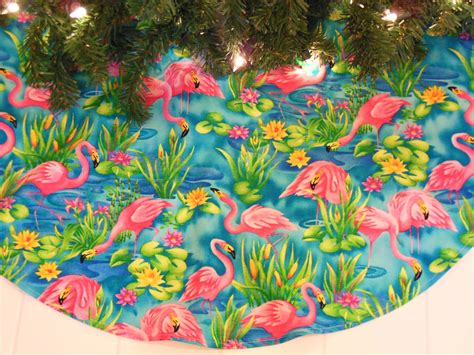 tropical christmas tree skirt pink flamingo tree skirt