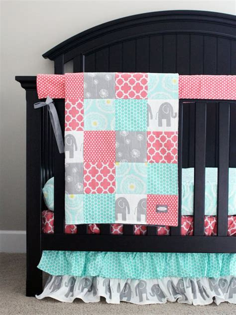 Gray And Coral Crib Bedding Baby Bedding Coral Mint And Grey Elephant Crib Bedding Baby Crib Sets And