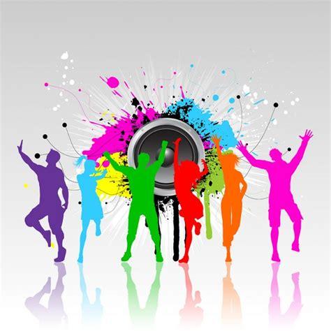imagenes animadas bailando siluetas coloridas de personas bailando en un fondo grunge