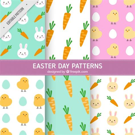 easter pattern assortment of six easter patterns vector free download