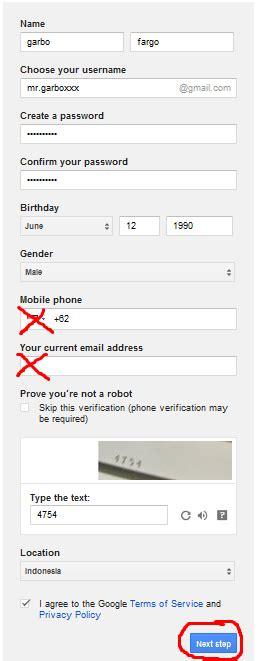 cara membuat email gmail tanpa verifikasi nomor hp 2015 cara membuat akun gmail tanpa verifikasi no hp f a r g o
