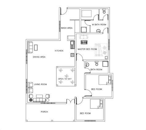 House Plan Dwg House Plans In Autocad Dwg And Pdf Housecabin Three Bed Room Small