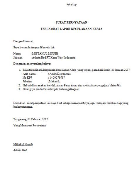 contoh surat keterangan keterlambatan untuk klaim jkk kecelakaan kerja
