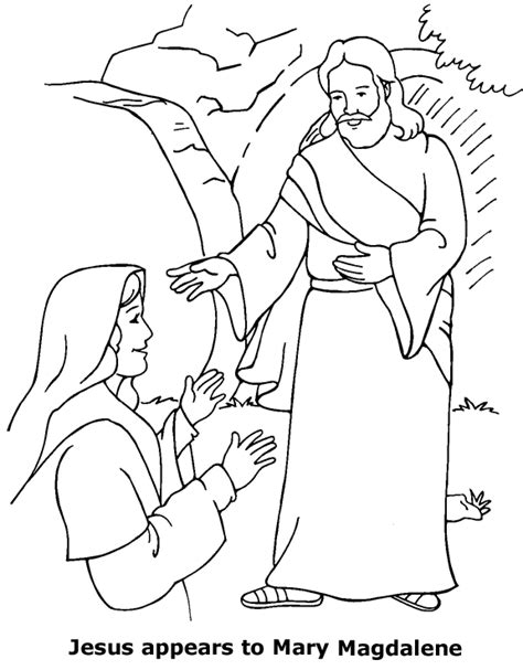 coloring page for resurrection jesus appears to mary coloring page
