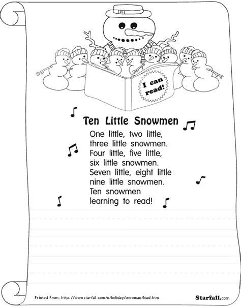 Starfall Printable Worksheets by Starfall Printouts Ten Snowmen Snowmen In