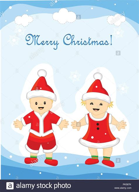 merry christmas greeting card   cute  girl  boy wearing santa clothes  hat
