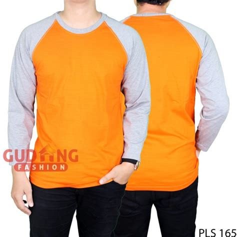 Kaos Eyeshield 21 05 S Xl kaos pria raglan panjang polos cotton combed orange lengan abu pls 165 gudang fashion