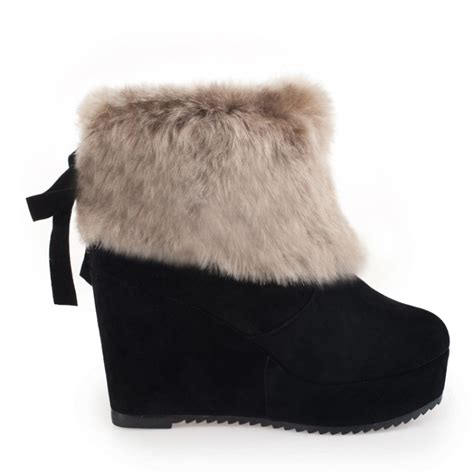 cheap winter fashion toe fur patchwork slip on wedge