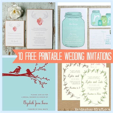diy free 10 free printable wedding invitations diy wedding