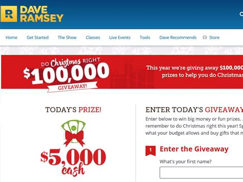 Dave Ramsey Sweepstakes - dave ramsey giveaways christmas lizardmedia co
