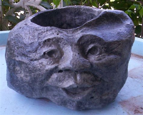 face planters concrete garden rock face head planter or pot