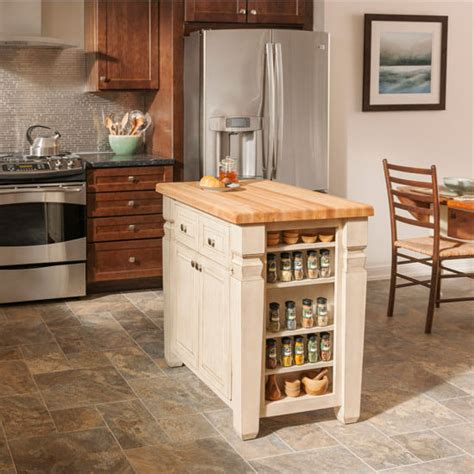 White Kitchen Island With Butcher Block Top Jeffrey Loft Kitchen Island With Maple Edge Grain Butcher Block Top