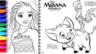coloring pages moana princess pacific heihei pua baby moana coloring video children