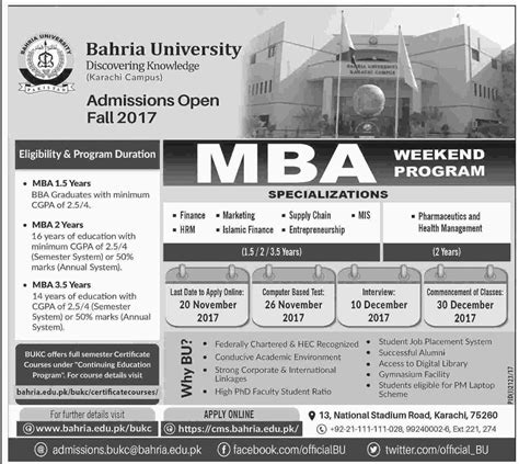 Mba In Mis Karachi by Admission Open In Bahria Karachi 22 Oct 2017
