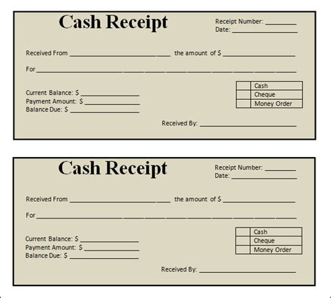 printable blank cash and sales receipt template sle