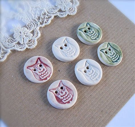 Handcrafted Buttons - handmade porcelain owl buttons by brick house