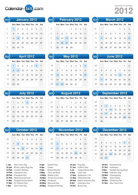 2012 Calendar With Holidays 2012 Calendar